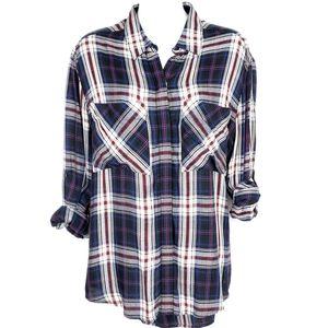 EXPRESS | Boyfriend Plaid Button Down Tunic Shirt